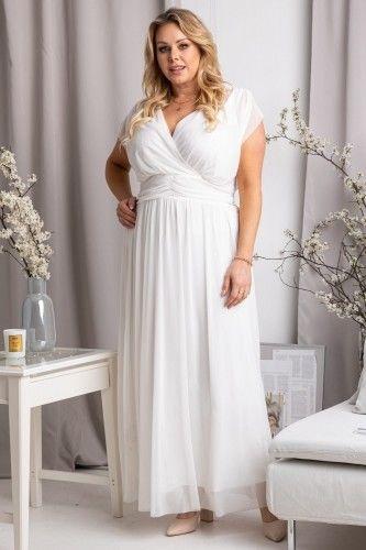 Sukienka do ślubu tiulowa długa plus size MANUELA ecru