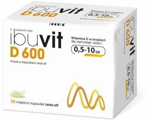 Ibuvit D 600 Witamina D dla niemowląt i dzieci od 0,5 do 10 lat - 30 kapsułek twist-off