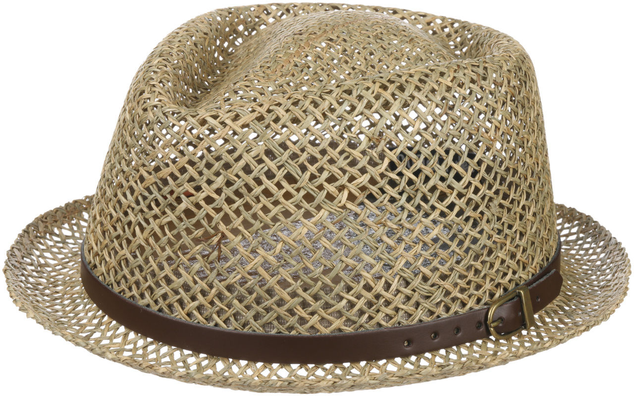 Coyuca Vented Pork Pie Straw Hat by Lipodo, naturalny, L (58-59 cm)