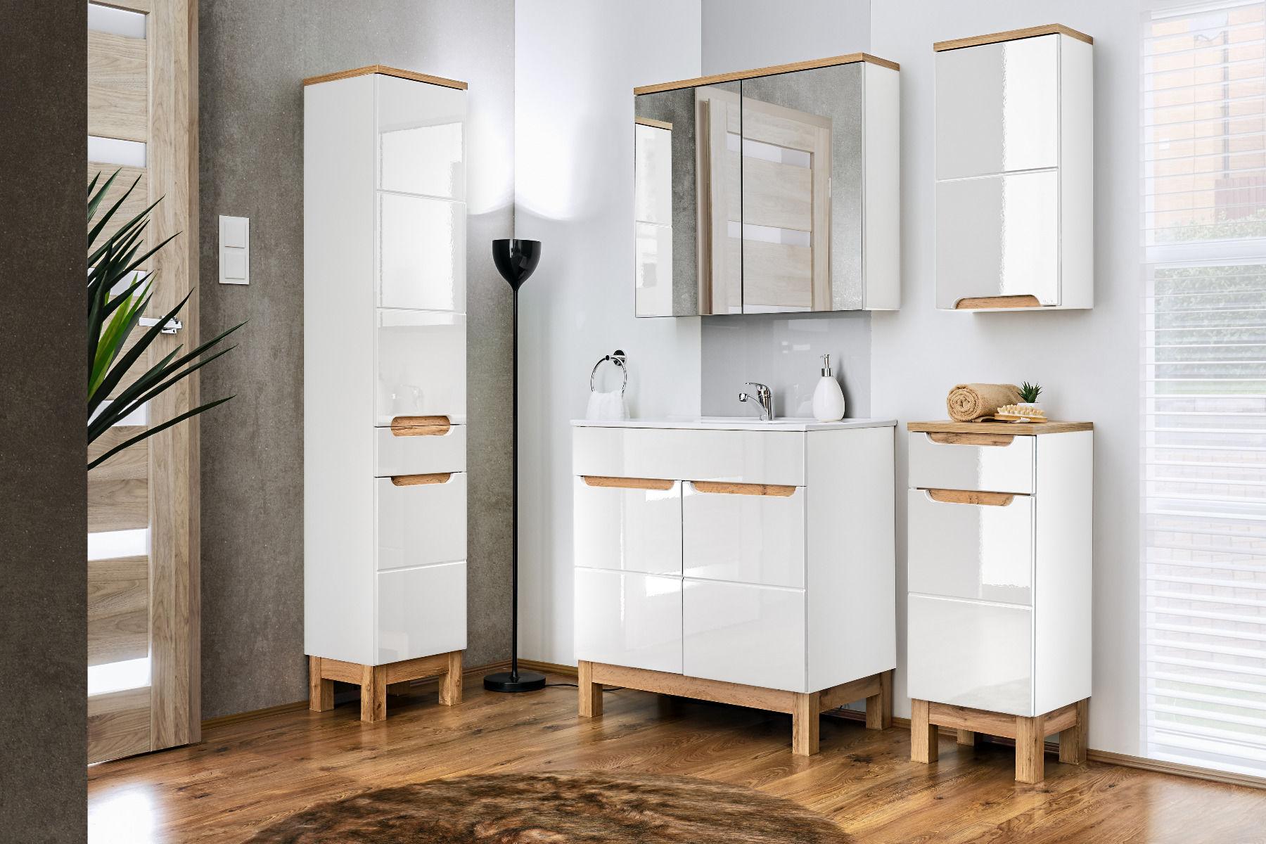 Szafka łazienkowa BALI 841 biała z lustrem  Kupuj w Sprawdzonych sklepach