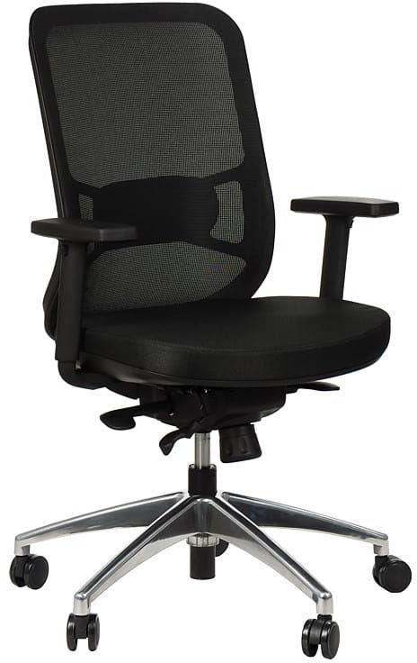 Krzesło obrotowe biurowe z podstawą aluminiową i wysuwem siedziska model GN-310/CZARNY fotel biurowy obrotowy