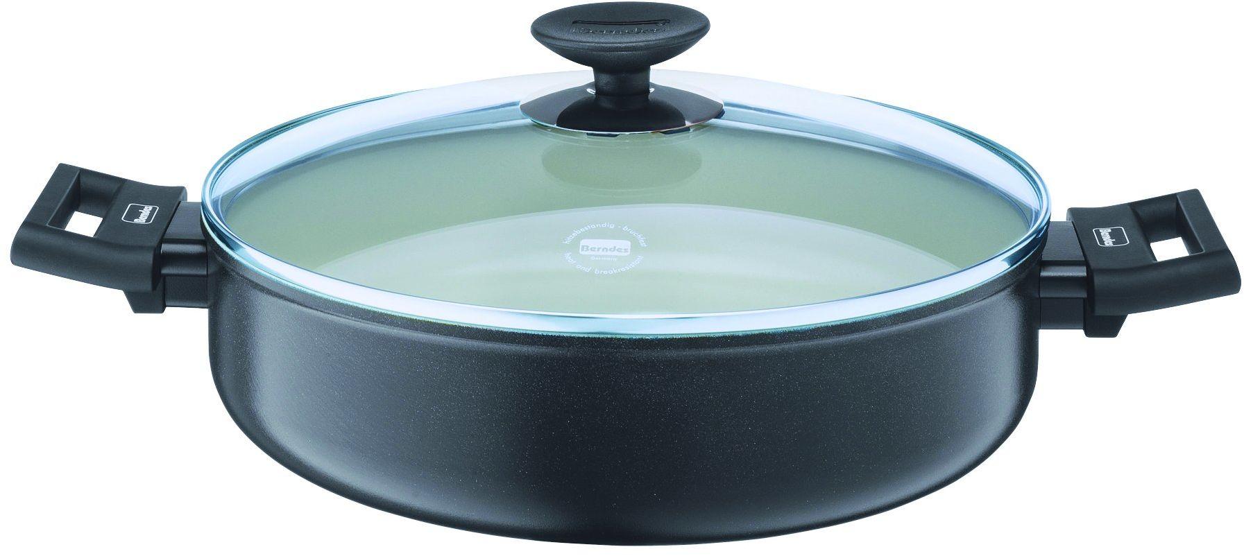 Berndes Alu Specials Smart rondel do duszenia 28 cm ze szklaną pokrywką, aluminium, biały, ceramika, 4,2 litra