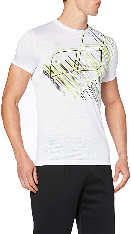 ARENA Arena męska koszulka sportowa Tech Sport Shirt biały White-printed Logo L