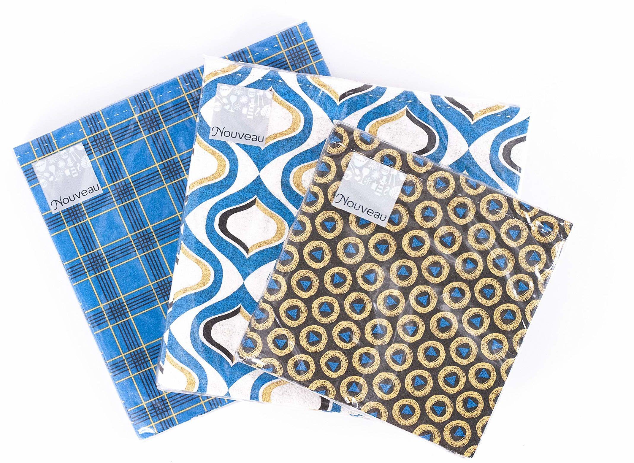 Nouveau serwetki papierowe zestaw 33 x 33/25 x 25 niebieski/żółty