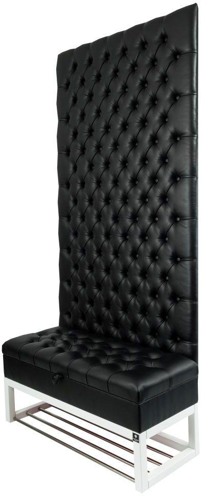 Mini Kufer z Panelem Ściennym Siedzisko Pikowane Ekoskóra Czarna LPPK-39 Rozmiary od 50 cm do 100 cm