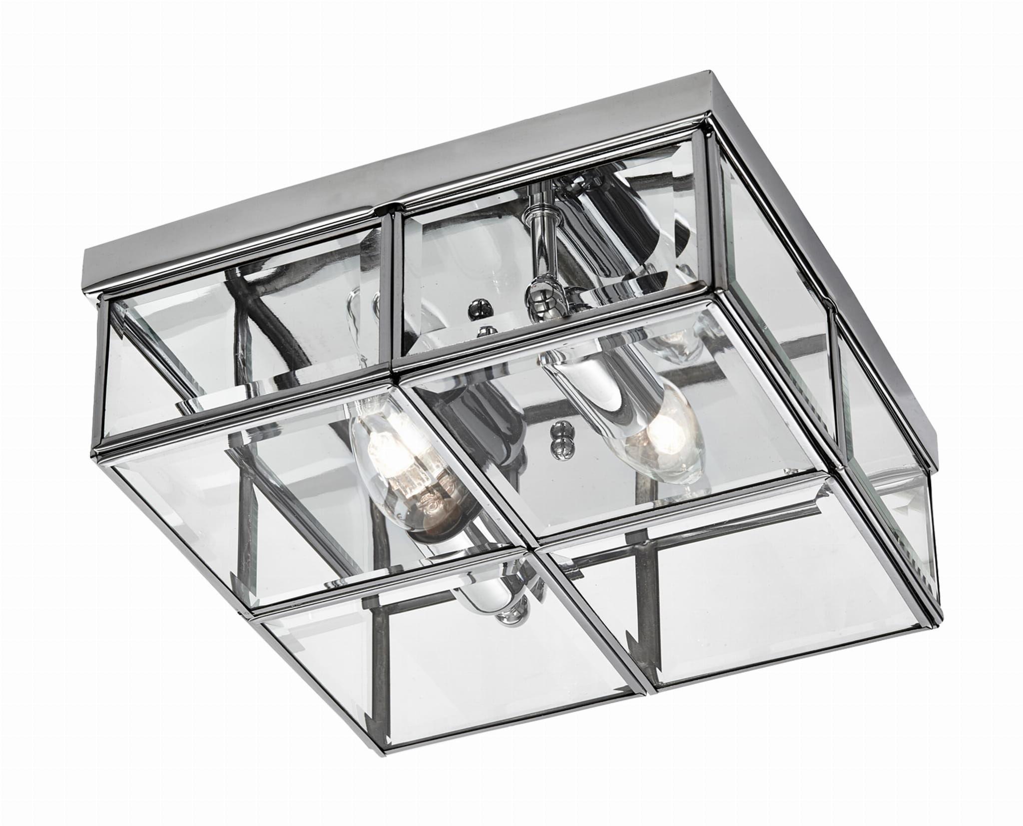 Light Prestige Monza LP-2323/2C plafon lampa sufitowa metalowa klosz szklany kafelki transparentny 2x40W E14 30cm