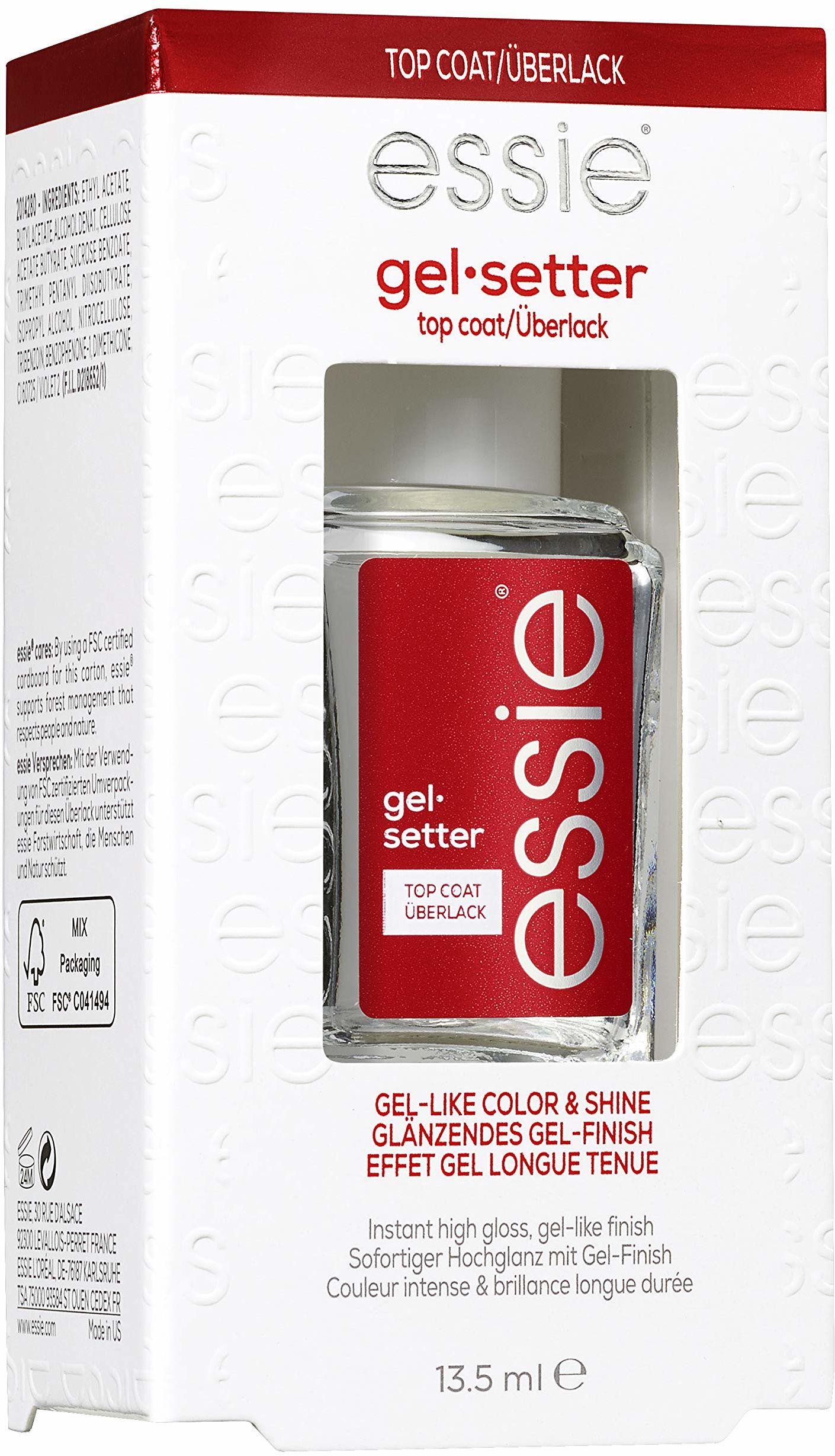Essie Top Coat żel żelowy, ochrona i wykończenie żelowe, przezroczysty, 13,5 ml