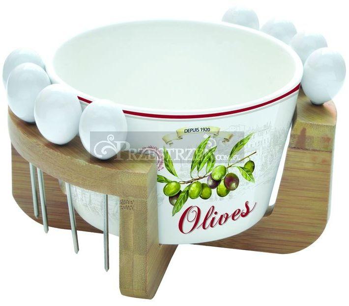 MISKA PORCELANOWA DO OLIWEK, PRZEKĄSEK, z 8 WIDELCZYKAMI - LOUNGE - Olives (825 OLIV)
