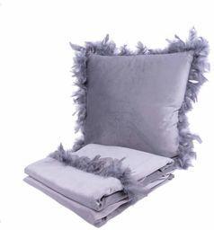 Poduszka dekoracyjna i koc Palmira 100 2-częściowy zestaw szary