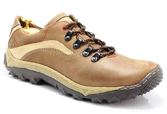 KENT 268 BRĄZ - Polskie buty trekkingowe, skóra - Brązowy Beżowy