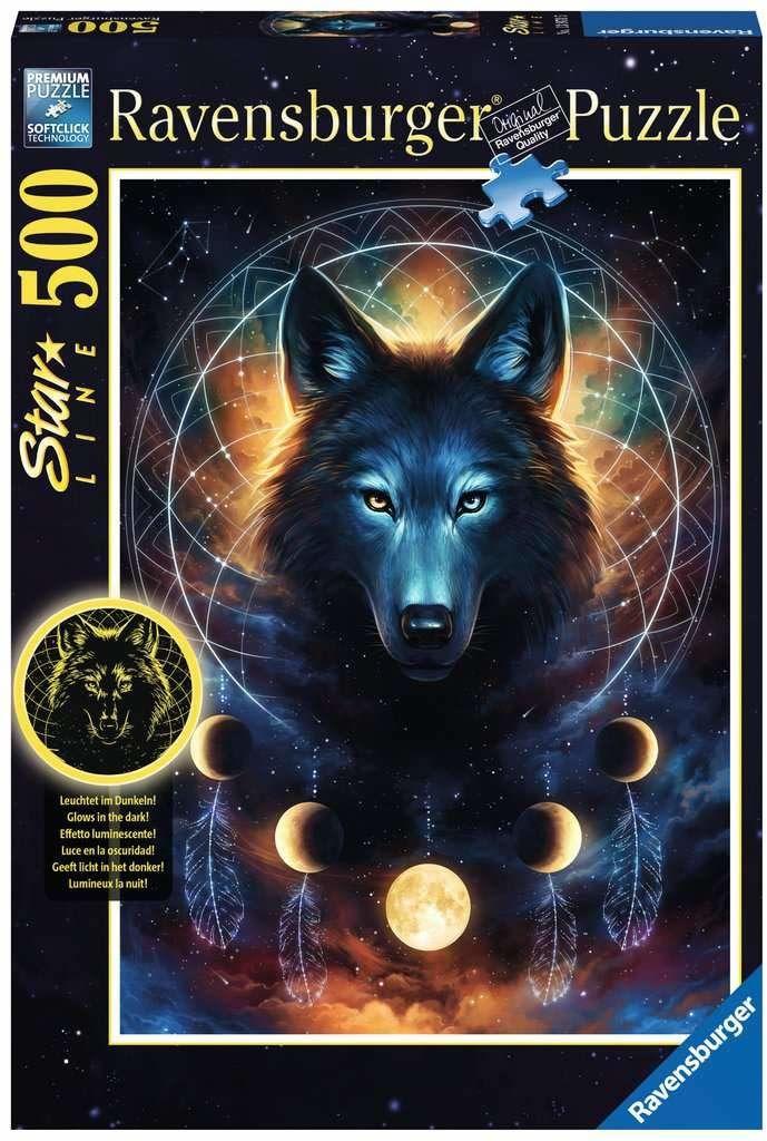 Ravensburger Puzzle 13970 Wilk I Księżyce 500 Elementów Puzzle Dla Dorosłych Świecące W Ciemności (13970) Unikalne Elementy, Technologia Softclick