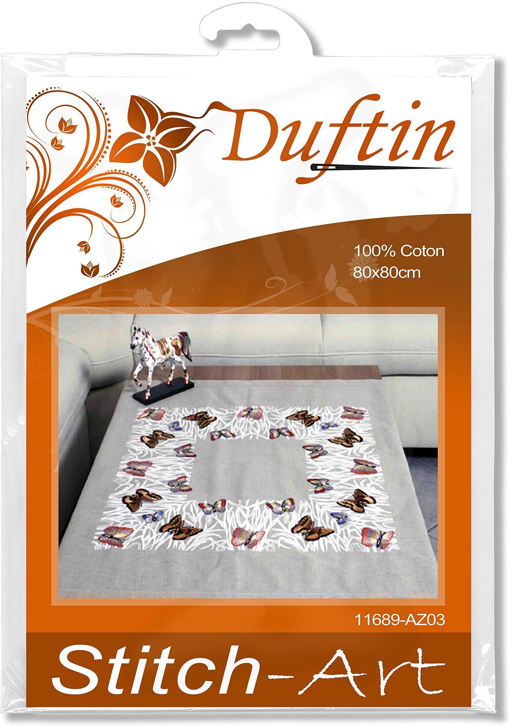 """Duftin 11689-AZ03 obrus na środku, haftowany, ścieg zygzakowy, bawełna, motyw """"motyle"""", 80 x 80 cm"""