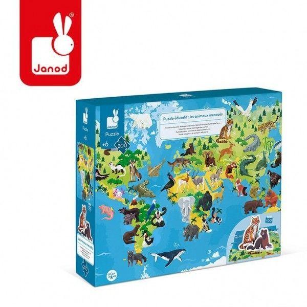 Janod - Puzzle Edukacyjne z Figurkami 3d Zagrożone Gatunki 200 Elementów 6+