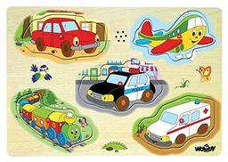 Woodyland Puzzle dźwiękowe samochodów