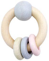 Hess 1118 - drewniana zabawka, okrągła grzechotka z kulką i 3 pierścieniami z drewna, naturalny różowy