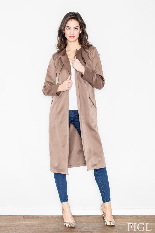 Brązowy płaszcz typu trencz bez zapięcia z wiązanym paskiem