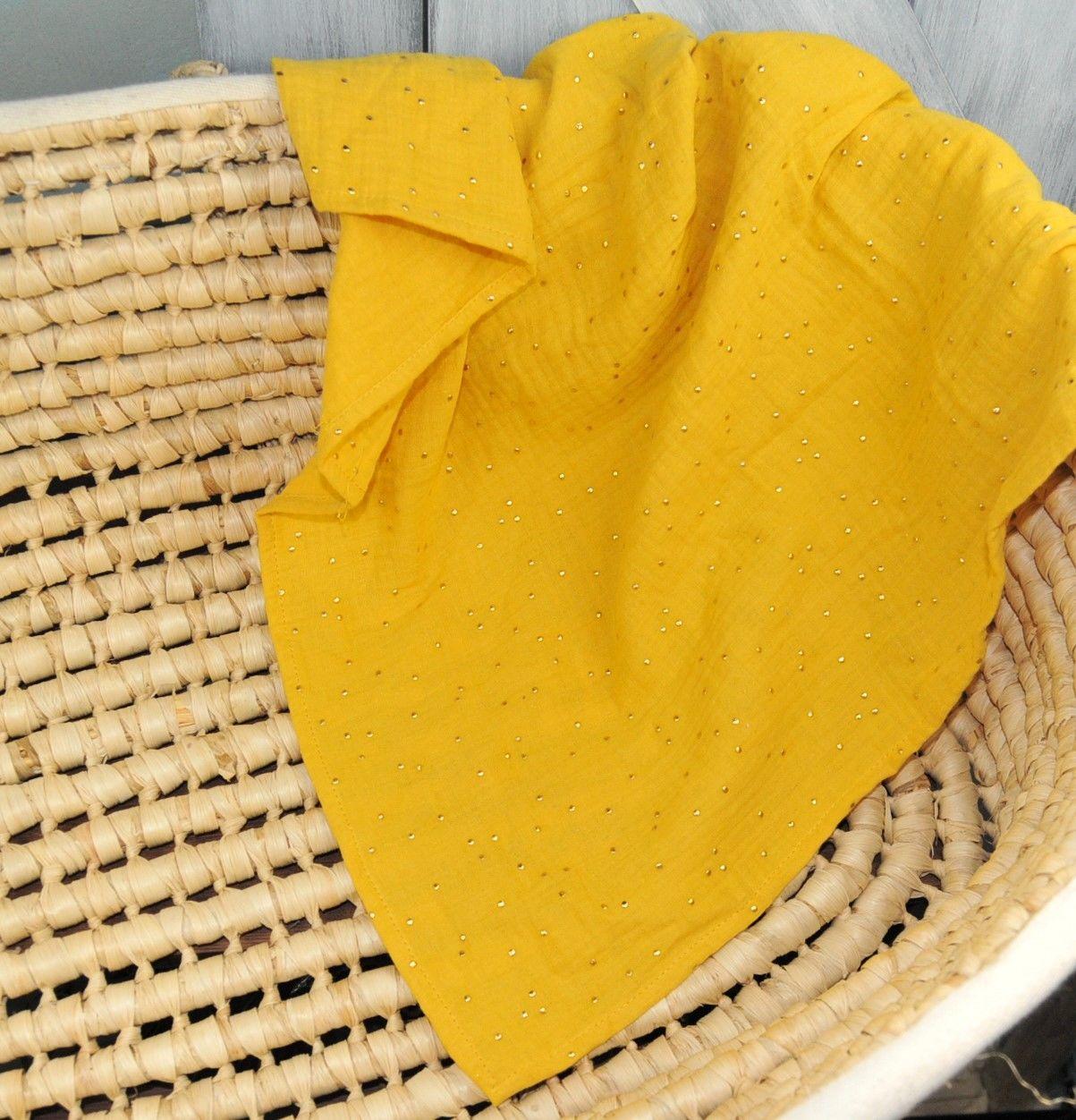 pielucha muślinowa 70x70cm mustard