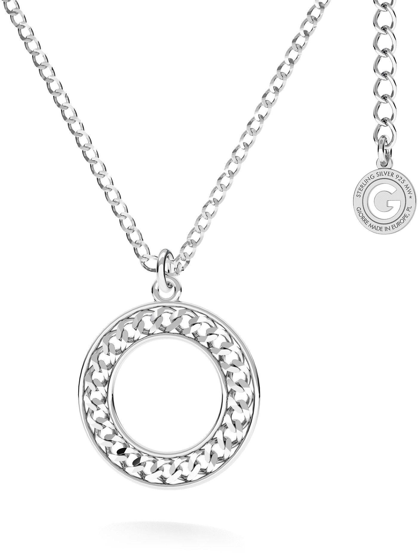 Srebrny naszyjnik z okrągłą zawieszką pancerka, AG 925 : Długość (cm) - 45 + 5, Srebro - kolor pokrycia - Pokrycie platyną