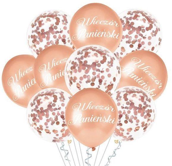 Zestaw balonów na Wieczór Panieński różowe złoto 10 sztuk 400808