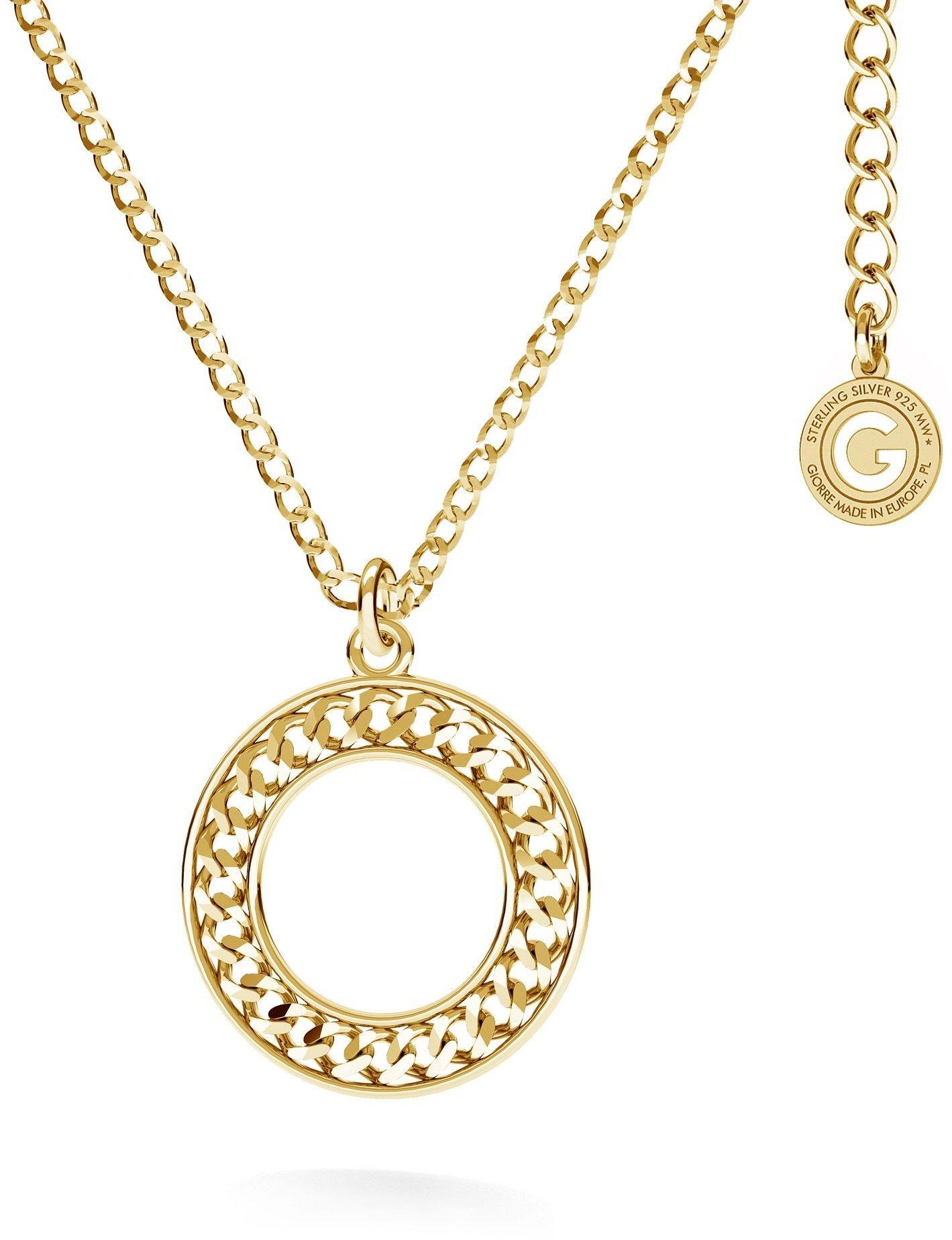 Srebrny naszyjnik z okrągłą zawieszką pancerka, AG 925 : Długość (cm) - 45 + 5, Srebro - kolor pokrycia - Pokrycie żółtym 18K złotem