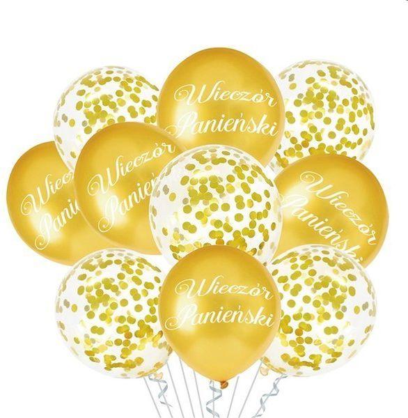 Zestaw balonów na Wieczór Panieński złote 10 sztuk 400809