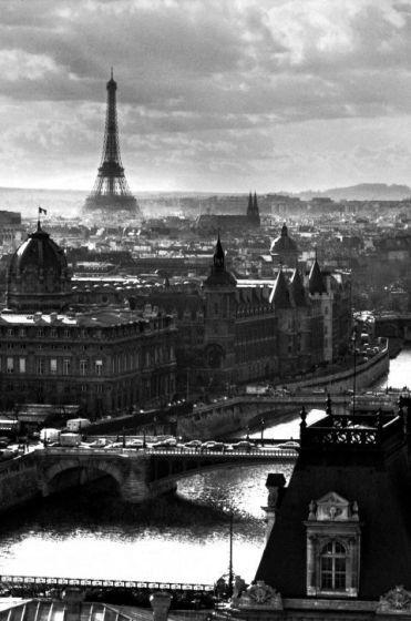 Paryż panorama miasta wieża eiffla - plakat