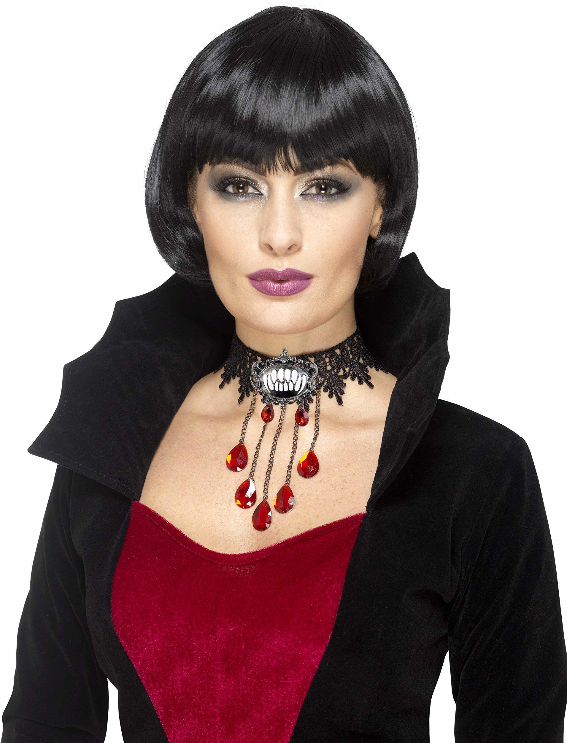 Smiffys 48320 Deluxe gotycki wampir choker, czarny, jeden rozmiar