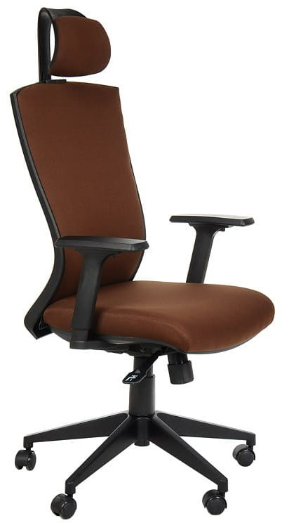 Fotel obrotowy biurowy z mechanizmem synchronicznym, zagłówkiem i regulowanymi podłokietnikami - HG-0004F brąz