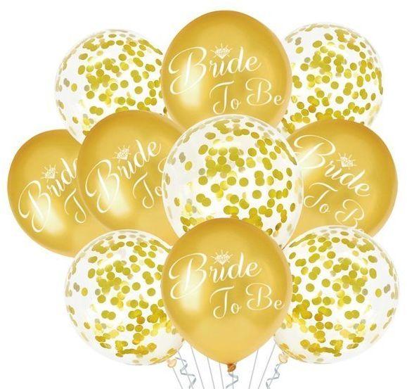 Zestaw balonów na Wieczór Panieński Bride to Be złote 10 sztuk 400812