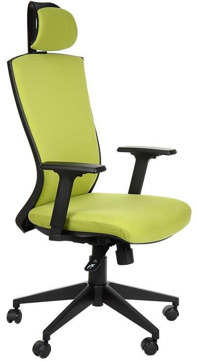 Fotel obrotowy biurowy z mechanizmem synchronicznym, zagłówkiem i regulowanymi podłokietnikami - HG-0004F zielony