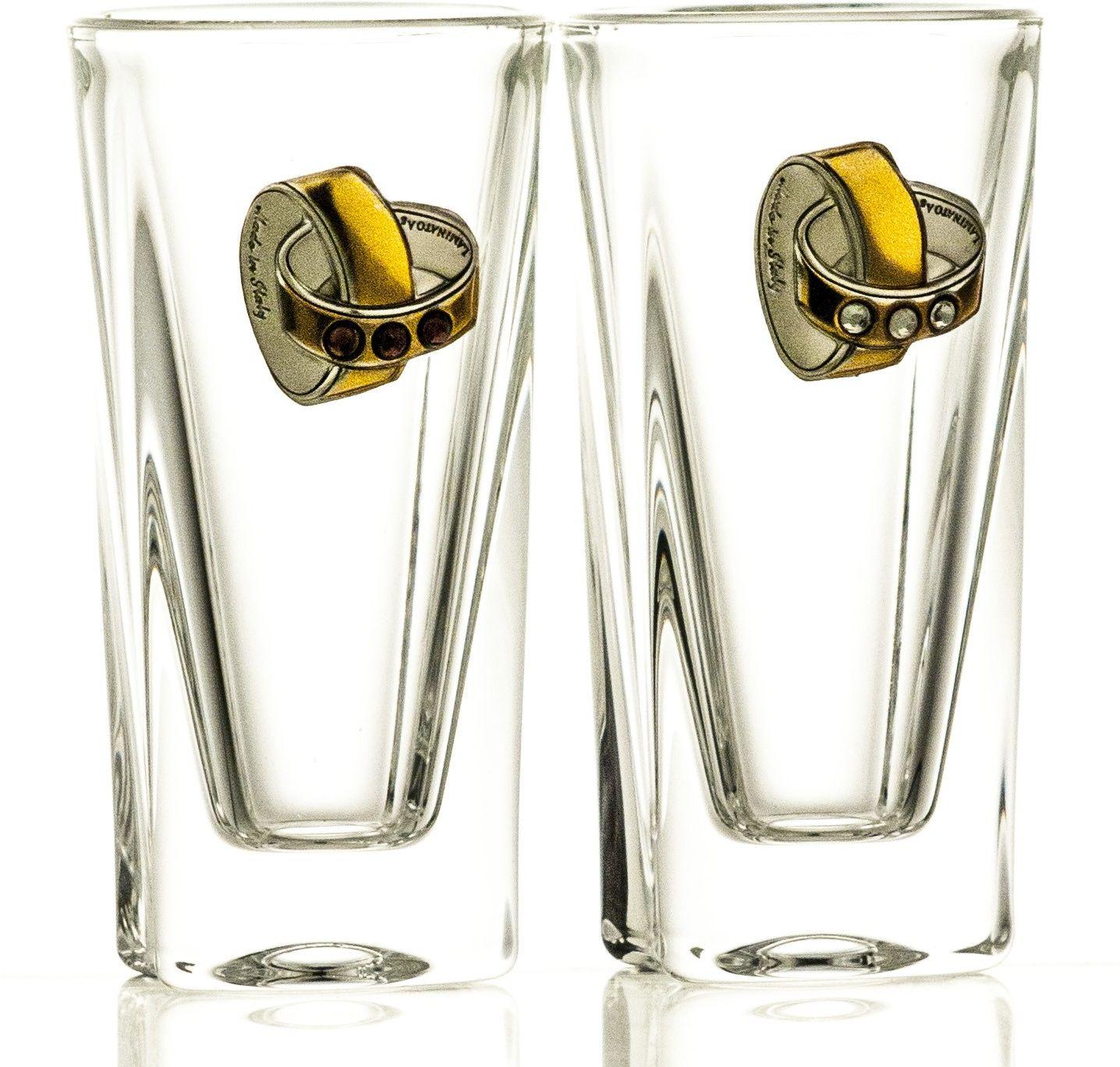 Kieliszki ślubne kryształowe do wódki 2 sztuki (05885)