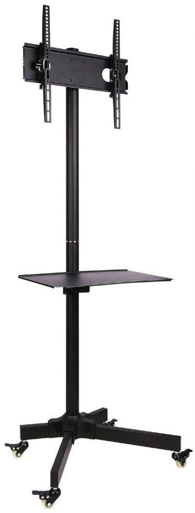 Techly Stojak mobilny LCD/LED 23-55cali regulowany z półką, czarny