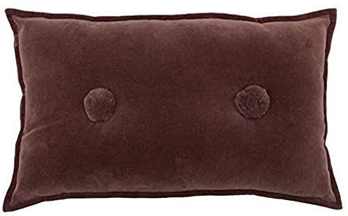 Furn Pompon poduszka wstępnie wypełniona bawełna-rock róża-30 cm x 50 cm (12 cali x 20 cali)