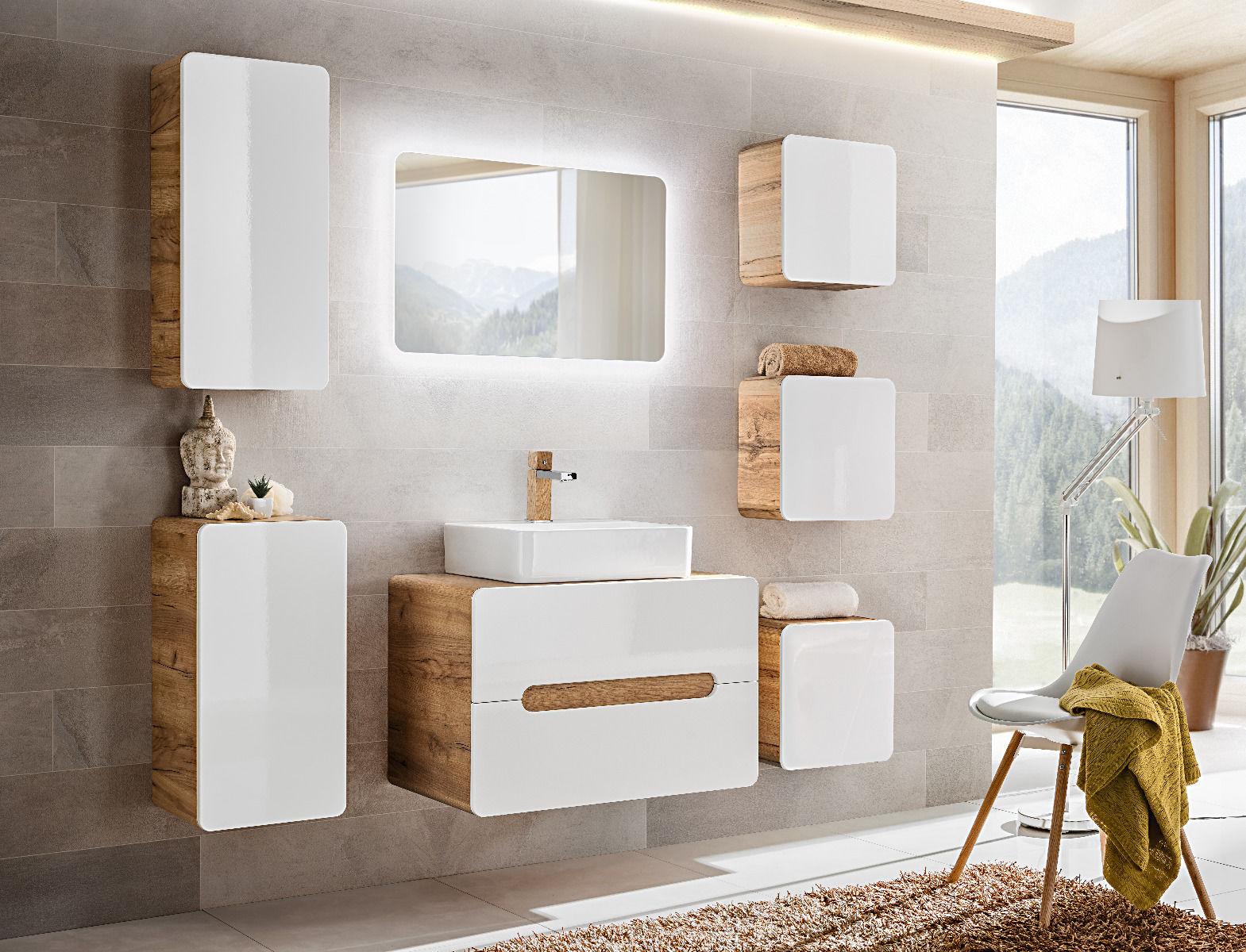 Szafka łazienkowa ARUBA 830 biała/dąb  Kupuj w Sprawdzonych sklepach