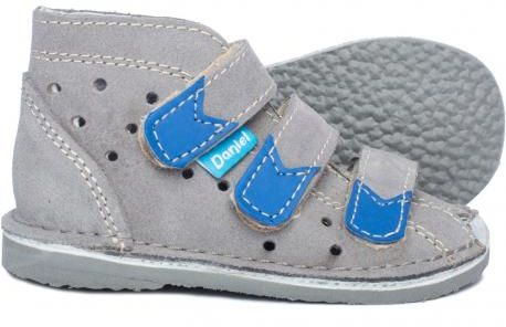 Daniel kapcie sandały profilaktyczne dla dzieci szary/ blue/ szary styrogum