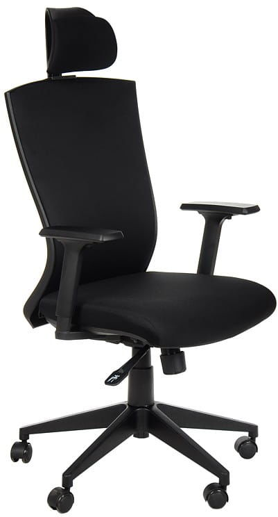 Fotel obrotowy biurowy z mechanizmem synchronicznym, zagłówkiem i regulowanymi podłokietnikami - HG-0004F czarny