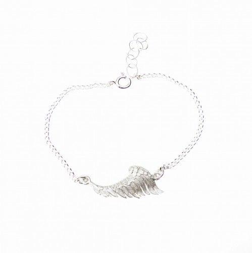 Skrzydło anioła białe - bransoletka na łańcuszku