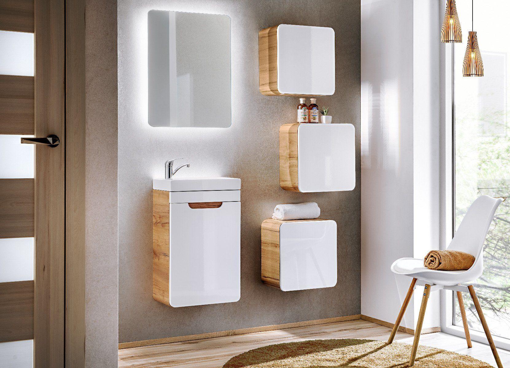 Szafka łazienkowa ARUBA 831 biała/dąb  Kupuj w Sprawdzonych sklepach