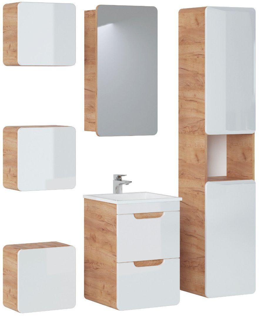 Szafka łazienkowa ARUBA 842 dąb z lustrem  Kupuj w Sprawdzonych sklepach