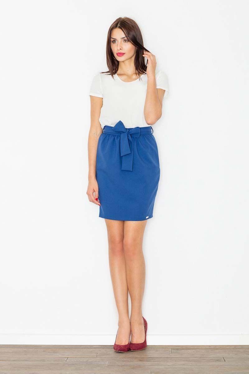 Chabrowa spódnica krótka ołówkowa z wiązaną szarfą