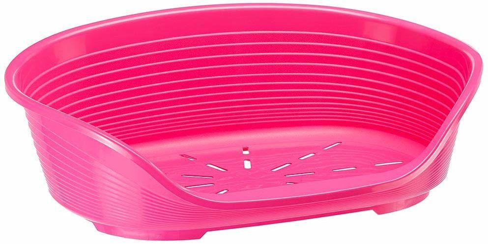 Ferplast plastikowa hodowla dla psów i kotów Siesta Deluxe 6, kosz na zwierzęta, perforowany spód, antypoślizgowy, wygodny uchwyt na podbródek, różowy,. 70,5 x 52 x 23,5 cm
