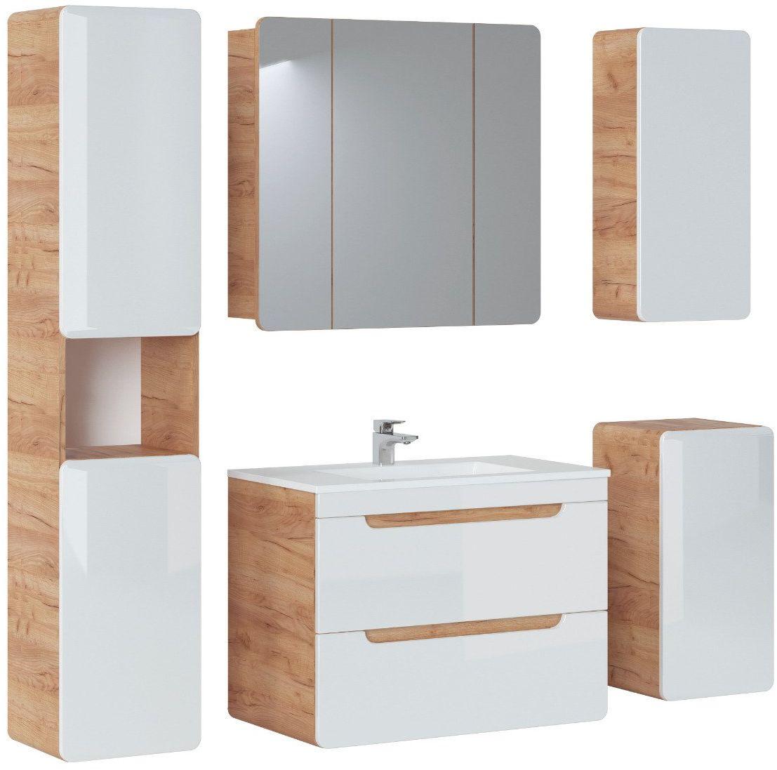 Szafka łazienkowa ARUBA 843 dąb z lustrem  Kupuj w Sprawdzonych sklepach