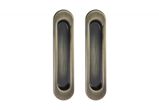 Uchwyt do drzwi przesuwnych wpuszczany owalny B-HARKO R003AB 151x35 mm, patyna(2 sztuki)