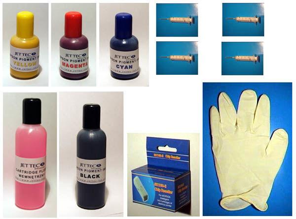 Zestaw zamiennik tusz pigment JETTEC czarny 100ml + 3x50ml kolory+akc.