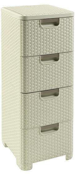 Regał z szufladami RATTAN STYLE 4x14L kremowy