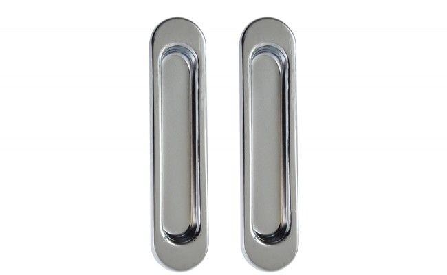 Uchwyt do drzwi przesuwnych wpuszczany owalny B-HARKO R003CP 151x35 mm, chrom(2 sztuki)
