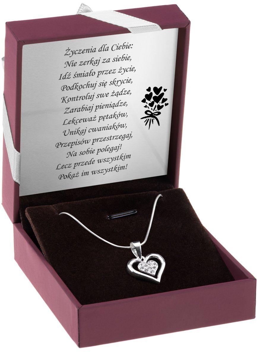 Naszyjnik Serce kryształy Srebro pr. 925 Dedykacja