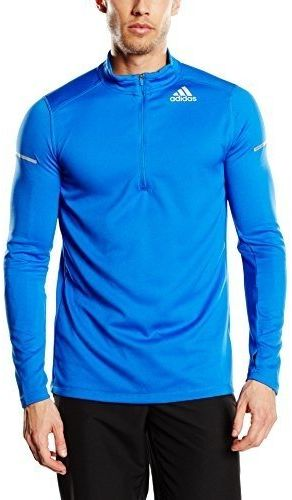 adidas męska koszulka do biegania Sequencials CC Run 1/2 zamek błyskawiczny z długim rękawem, niebieska, XS