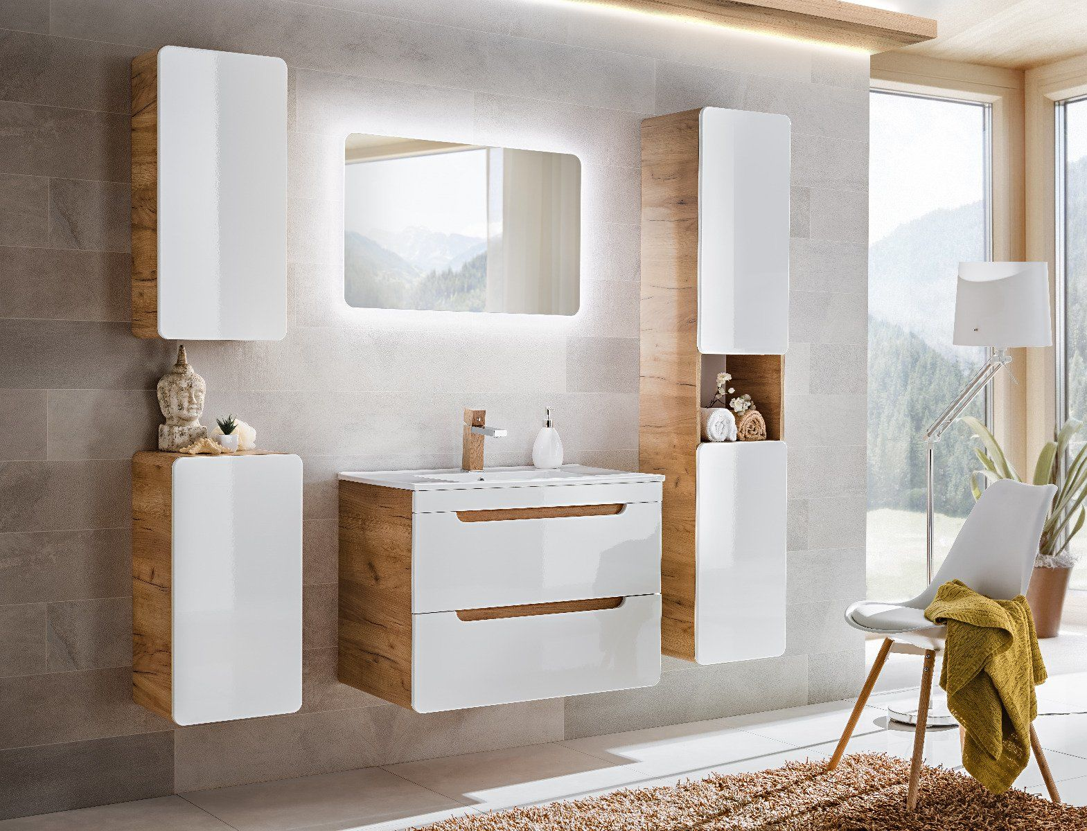 Szafka pod umywalkę ARUBA 820 biała/dąb  Kupuj w Sprawdzonych sklepach