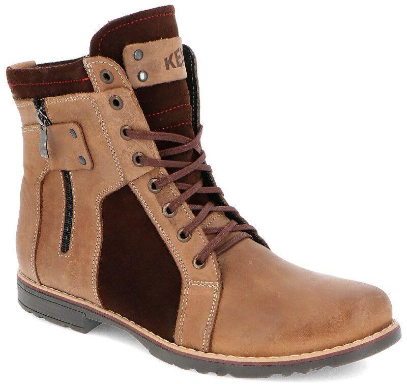 KENT 237 BRĄZ+WELUR - Męskie buty zimowe skóra - Brązowy